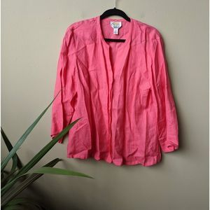 Talbots Irish Linen Salmon Button Down Blouse sz18